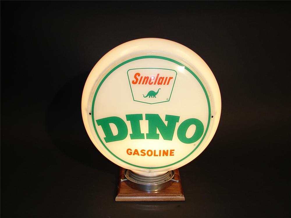 Choice early 1950s Sinclair Dino Gasoline narrow bodied glass gas pump globe. - Front 3/4 - 64808