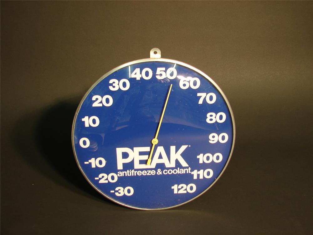 1970s Peak Anti-Freeze glass faced station thermometer. - Front 3/4 - 64936