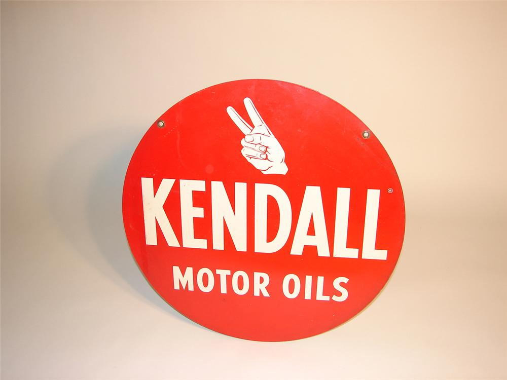 1950s Kendall Motor Oils double-sided tin sign garage sign. - Front 3/4 - 64940