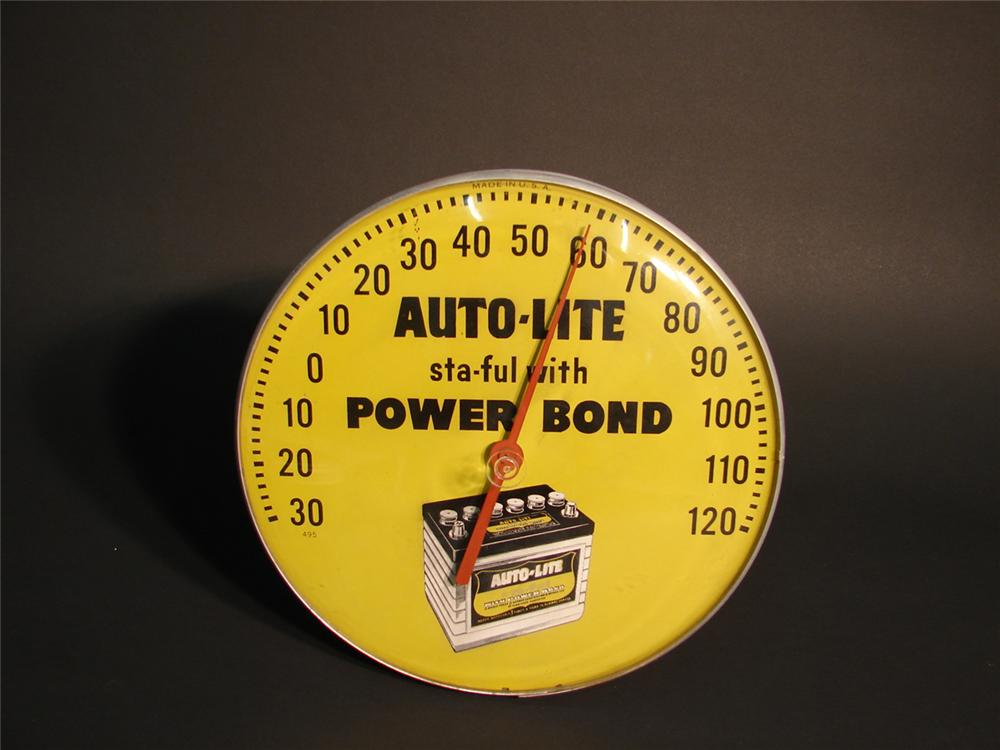 Uncommon early 1960s Auto-Lite Power Bond Batteries glass faced garage thermometer. - Front 3/4 - 64942