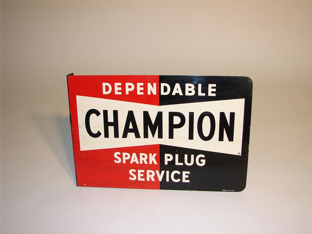 Late 50s Champion Spark Plugs flange sign. - Front 3/4 - 64946