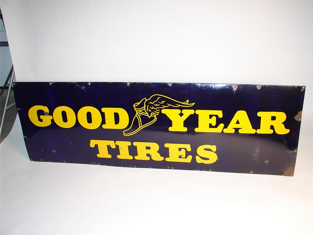 Hard to find 1940s Goodyear Tires horizontal porcelain garage sign. - Front 3/4 - 64949