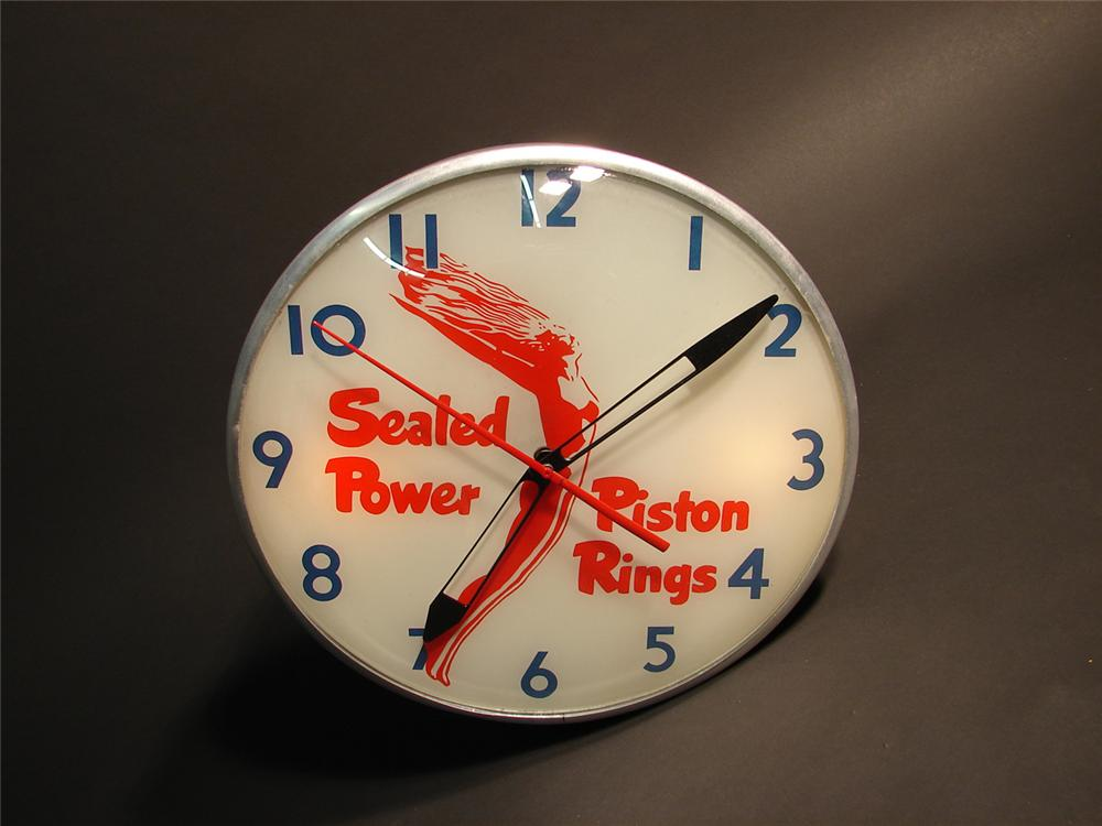 Rare 1950s Sealed Power Piston Rings light-up garage clock with art nouveau  styling. - Front 3/4 - 64950