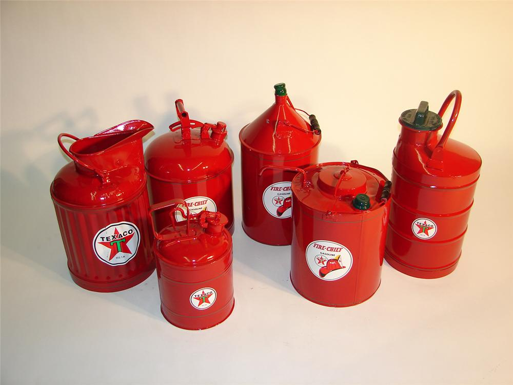 Lot of six Texaco service station restored service cans. - Front 3/4 - 64952