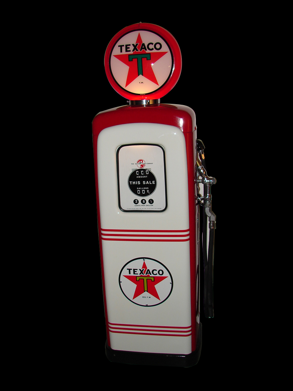 Immaculate 1946 M&S model #80 restored Texaco station pump. - Front 3/4 - 64957