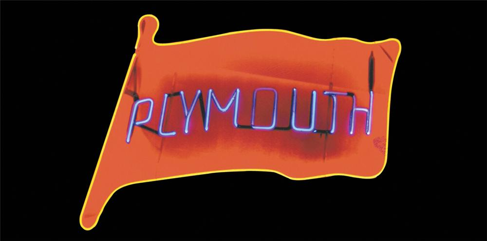 Splendid 1950s Plymouth Automobiles dealership window neon sign. - Front 3/4 - 64960