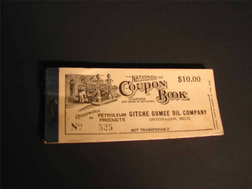 1920s Gitche Gumee Oil Company Gasoline Coupon book. - Front 3/4 - 64962