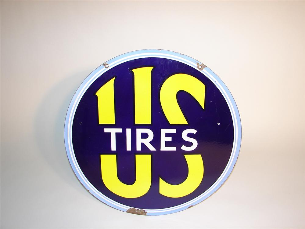 Late 30s-early 40s U.S. Tires double-sided porcleain garage sign. - Front 3/4 - 64964