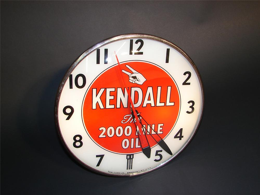 Spectacular 1950s Kendall Motor Oil glass faced light-up station clock. - Front 3/4 - 64967