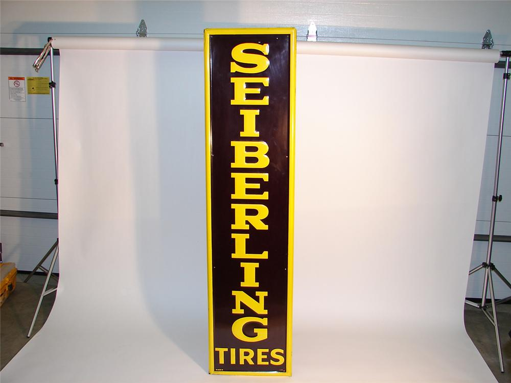 Over-sized 1959 Seiberling Tires self-framed tin vertical garage sign. - Front 3/4 - 64970