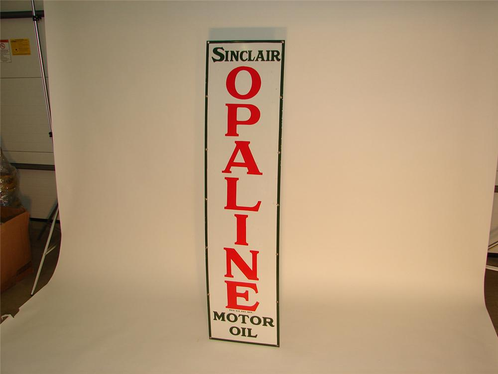 N.O.S. 1930s Sinclair Oplaine vertical porcelain garage sign. - Front 3/4 - 64972