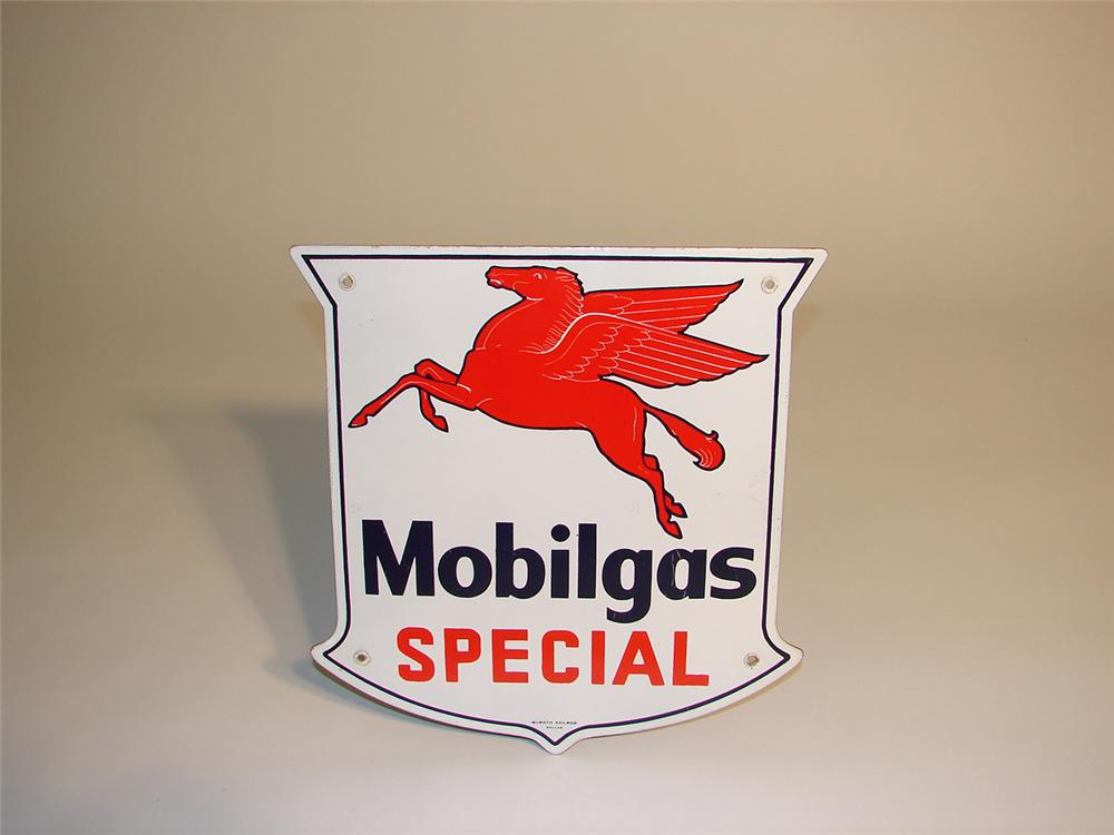 N.O.S. 1950s Mobilgas Special porcelain pump plate sign. - Front 3/4 - 64982