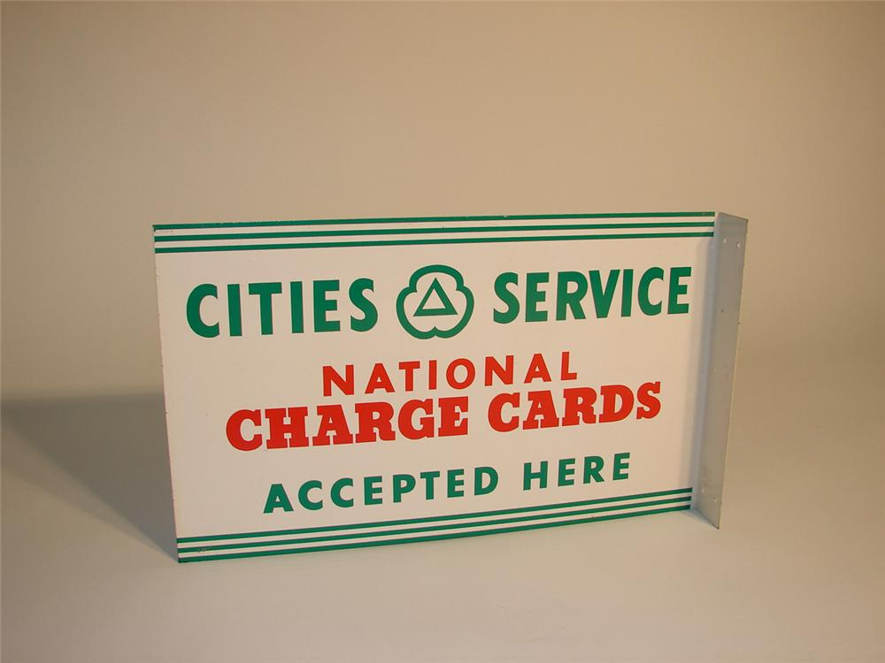 N.O.S. 1950s Cities Service Charge Cards accepted here station flange. - Front 3/4 - 64984