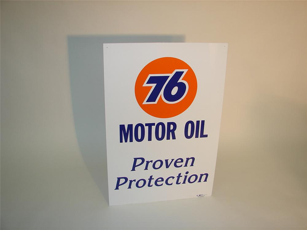 N.O.S. Union 76 Proven Protection double-sided tin garage sign. - Front 3/4 - 65150