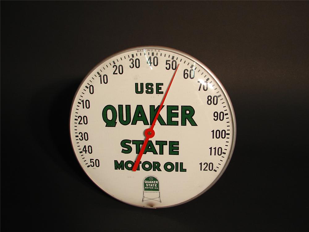 Late 50s Quaker State Motor Oil glass faced garage dial thermometer. - Front 3/4 - 65153