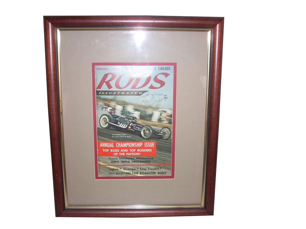 """1959 Vintage Rods Illustrated magazine featuring """"Big Daddy"""" Don Garlits on the cover and personally autographed by him. - Front 3/4 - 65302"""
