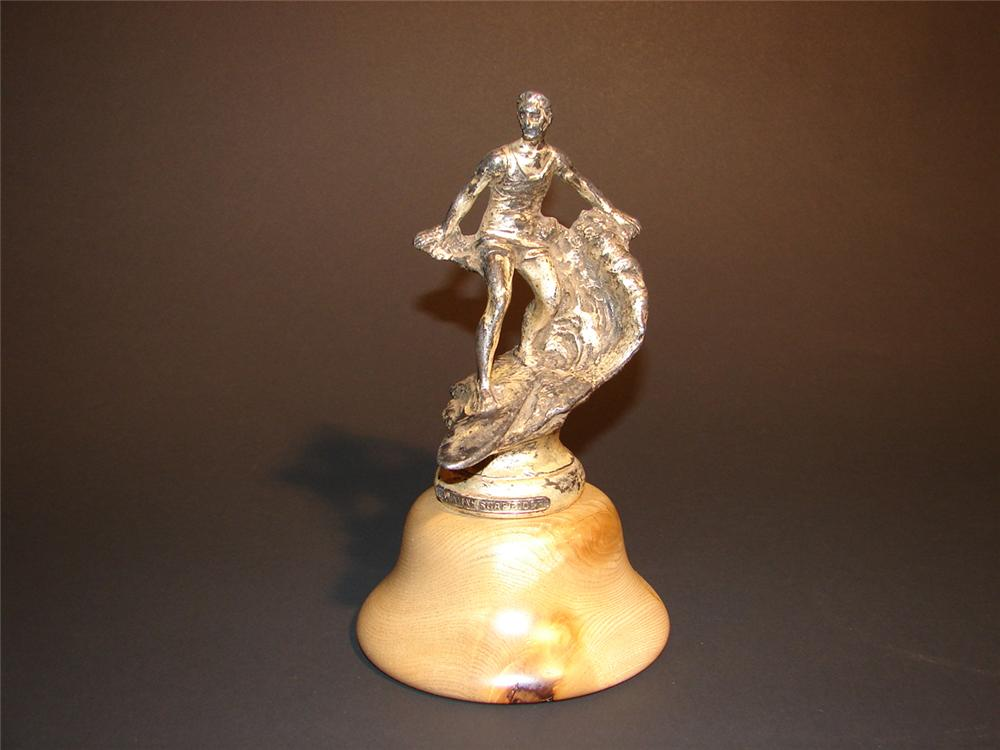 Superlative 1930s Hawaiian Surf Rider hood mascot.  Presents well with great patina. - Front 3/4 - 65303