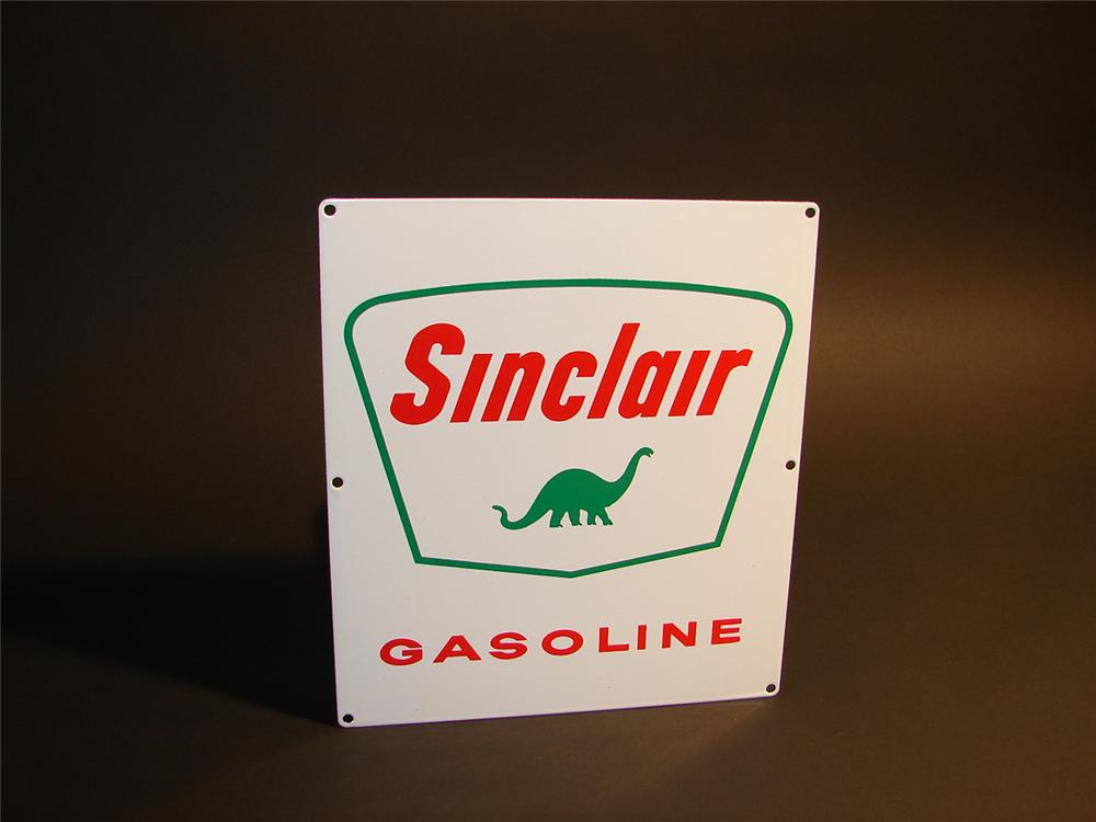 N.O.S. early 1960s Sinclair Gasoline porcelain pump plate sign. - Front 3/4 - 65305