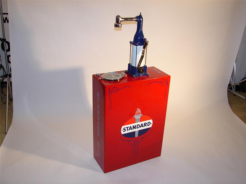 Late 20s-early 30s Standard Oil 30 gallon station lubester.  Impeccably  restored with chrome accents. - Front 3/4 - 65351