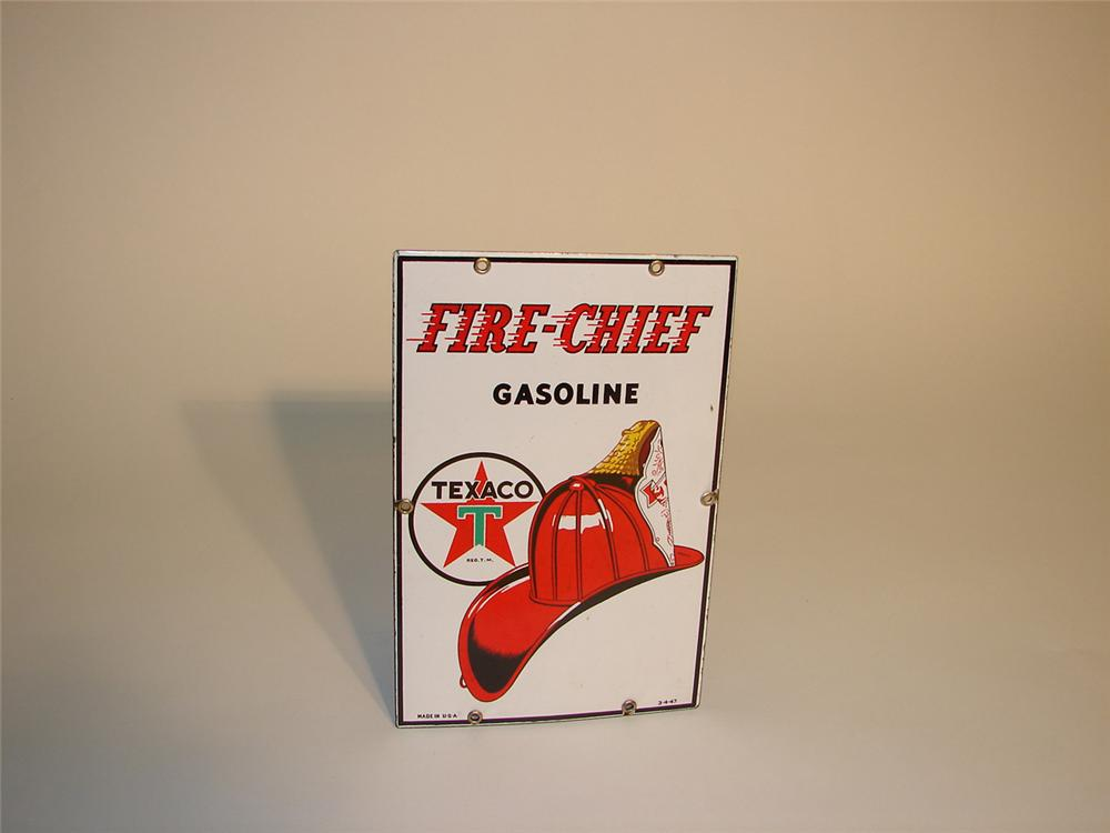 Hard to find small version 1947 Texaco Fire Chief porcelain porcelain pump plate sign. - Front 3/4 - 65355