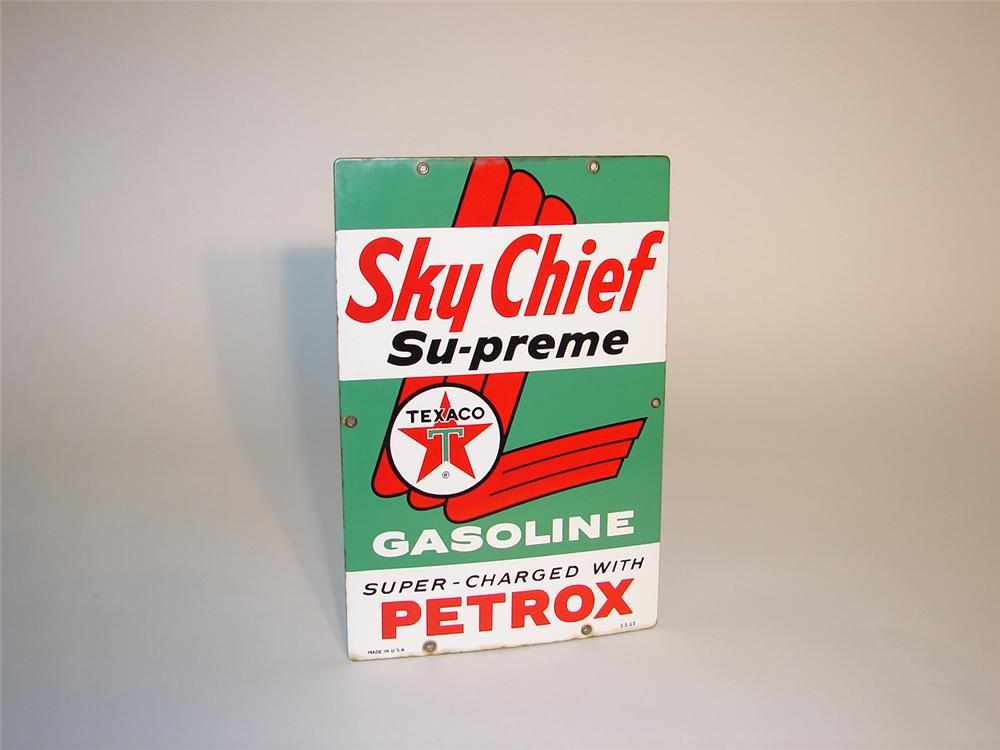 1962 Texaco Sky Chief porcelain pump plate sign. - Front 3/4 - 65356