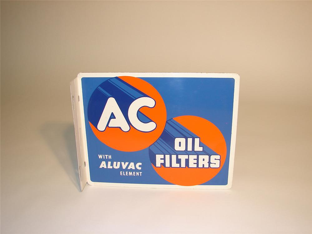 N.O.S. 1940s AC Oil Filters tin painted garage flange. - Front 3/4 - 65360