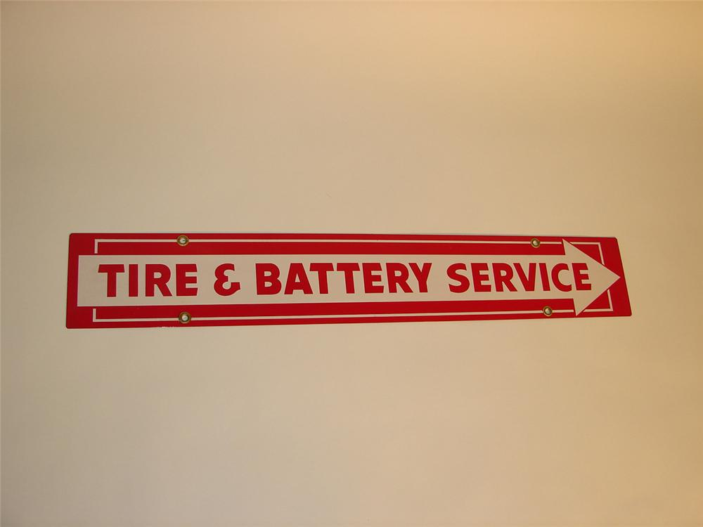 "Late 50s N.O.S. Firestone ""Tire and Battery Service"" double-sided tin garage sign. - Front 3/4 - 65365"