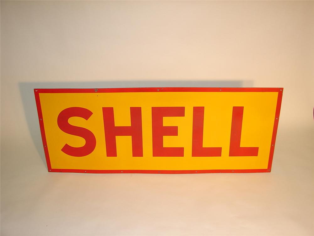 1940s Shell Motor Oil double-sided porcelain station sign. - Front 3/4 - 65371