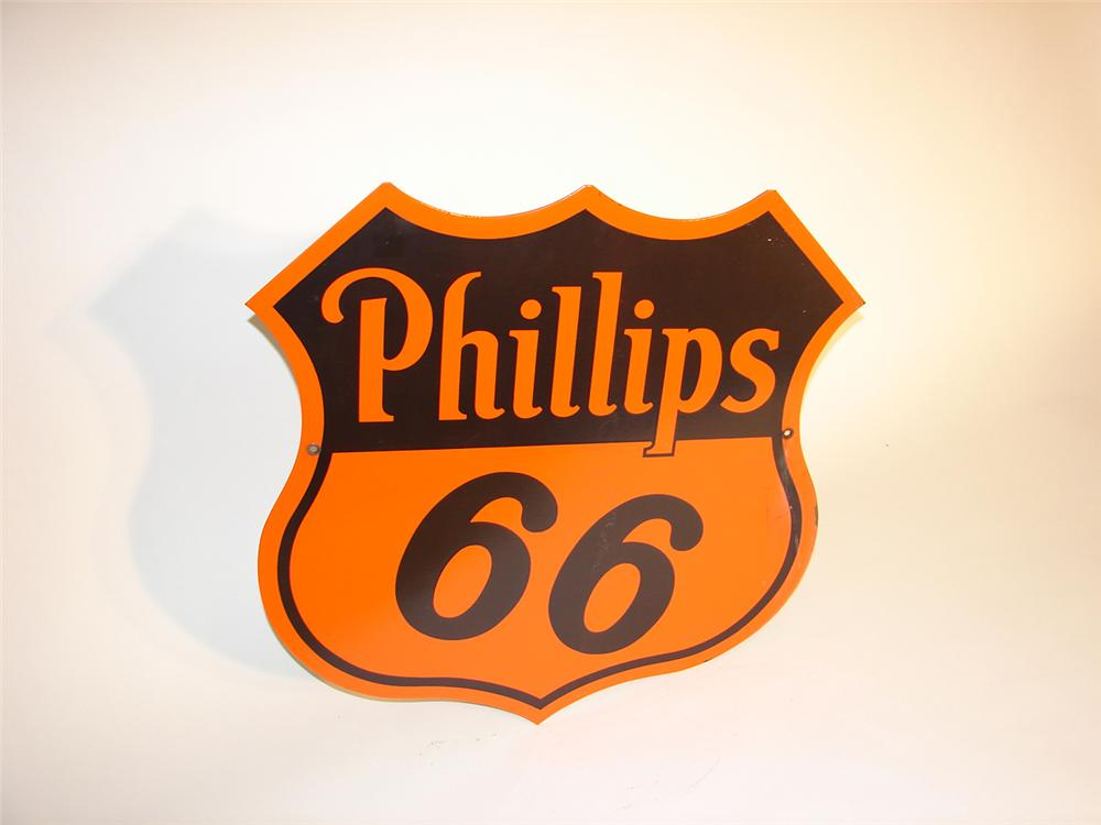 1940s Phillips 66 double-sided porcelain station sign. - Front 3/4 - 65372