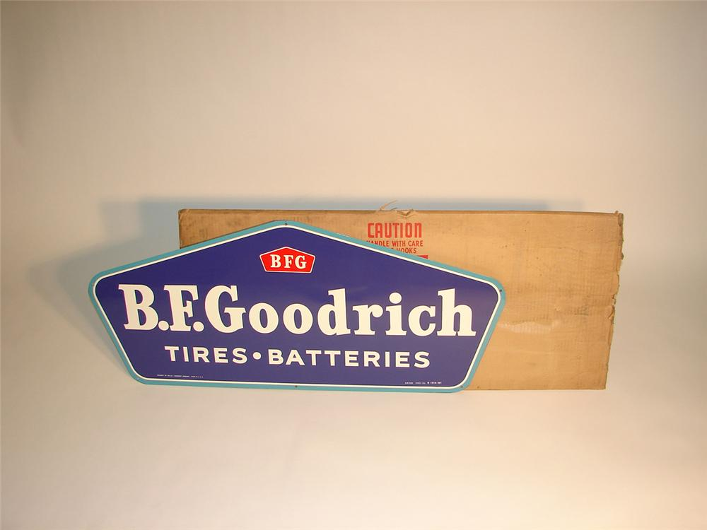 N.O.S. 1960 BF Goodrich Tires Batteries single -sided tin sign in the original shipping box. - Front 3/4 - 65398