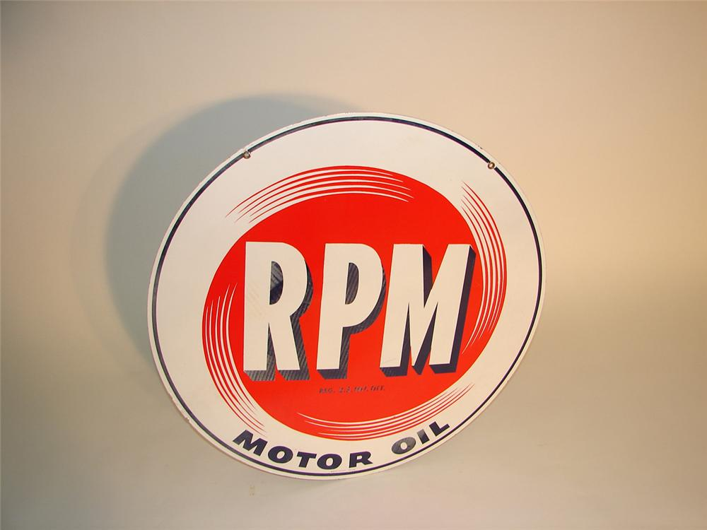 1950s RPM Motor Oil dbl-sided porcelain station sign. - Front 3/4 - 65402