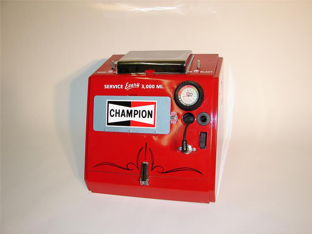 Remarkable 1950s Champion Spark Plugs service station cleaner. - Front 3/4 - 65428