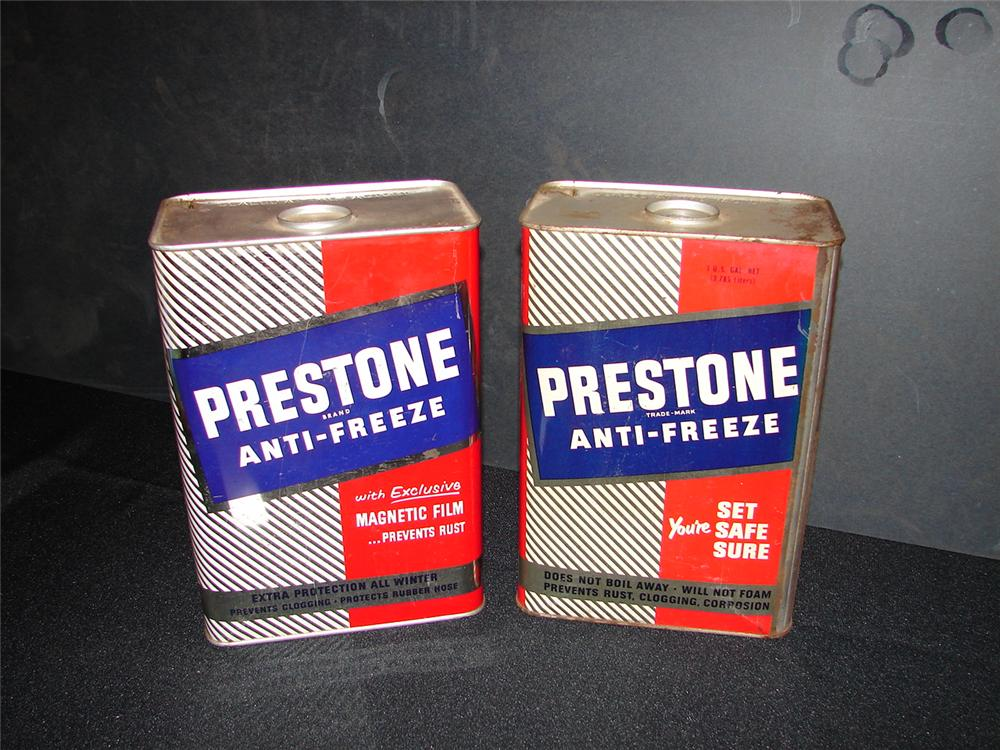 Lot of two 1950s Prestone Anti-Freeze one-gallon tins. - Front 3/4 - 65595