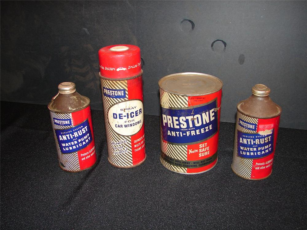 Lot of four 1950s Prestone Anti-Freeze station tins. - Front 3/4 - 65596