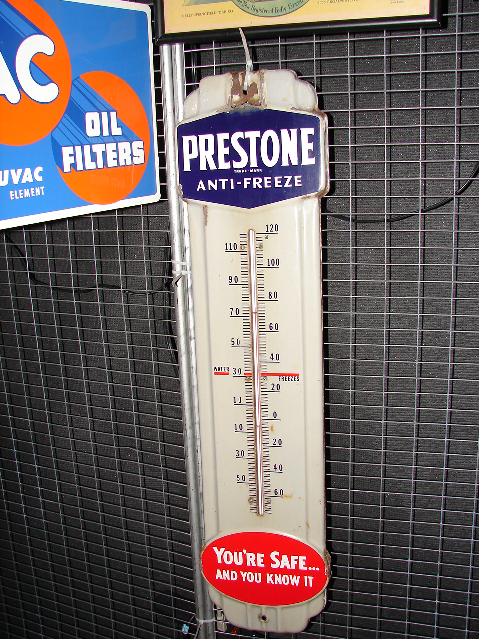 1940s Prestone Anti-Freeze porcelain garage thermometer. - Front 3/4 - 65600