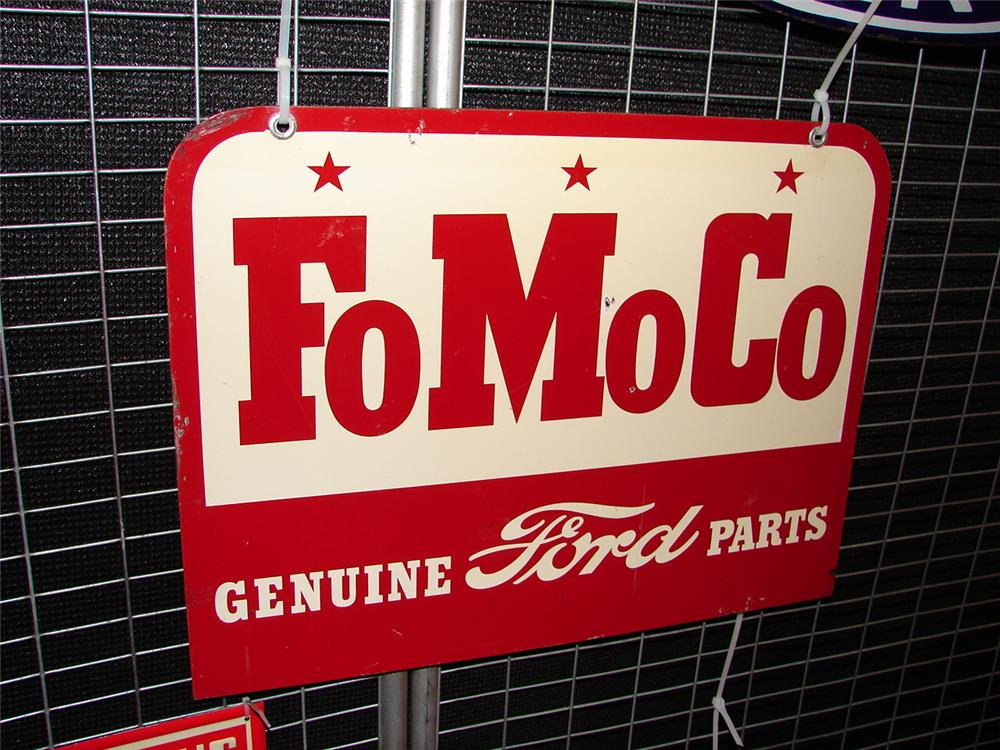 Late 50s Ford FoMoCo double-sided tin garage sign. - Front 3/4 - 65601