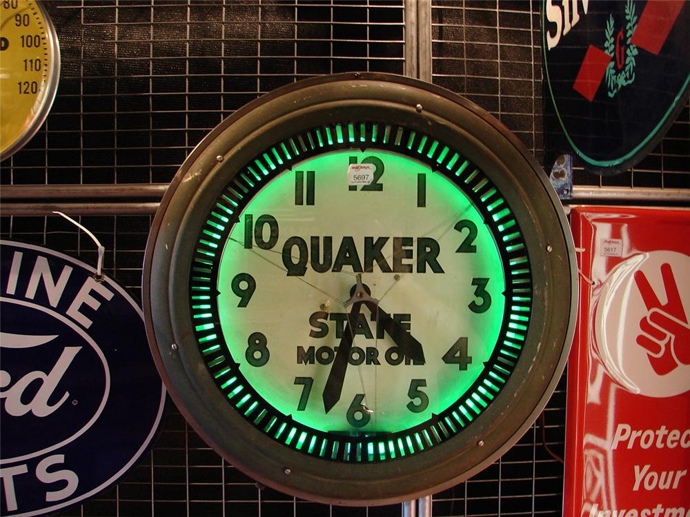 Fantastic 1930s Quaker State Motor Oil animated neon station clock. - Front 3/4 - 65603