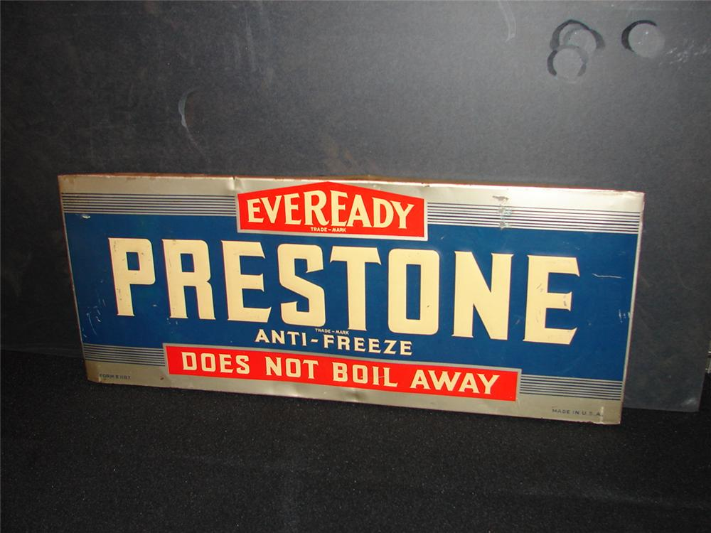 1930s-40s Prestone Anti-Freeze tin garage sign. - Front 3/4 - 65613