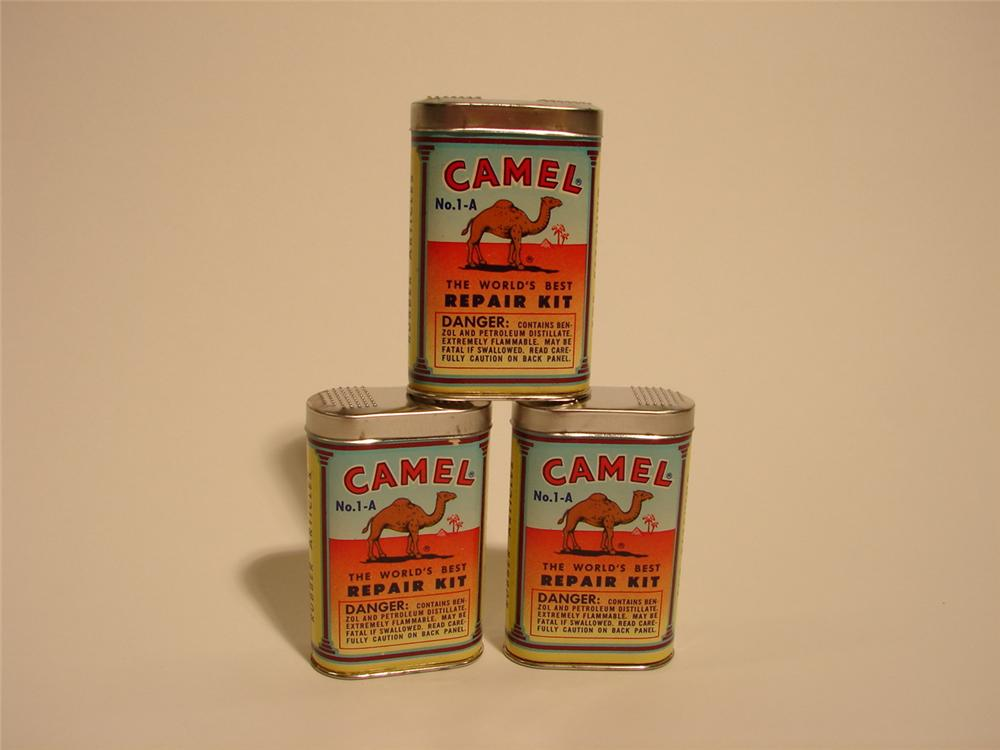 Lot of three N.O.S. 1930s Camel Tire Tube repair tins. - Front 3/4 - 66381