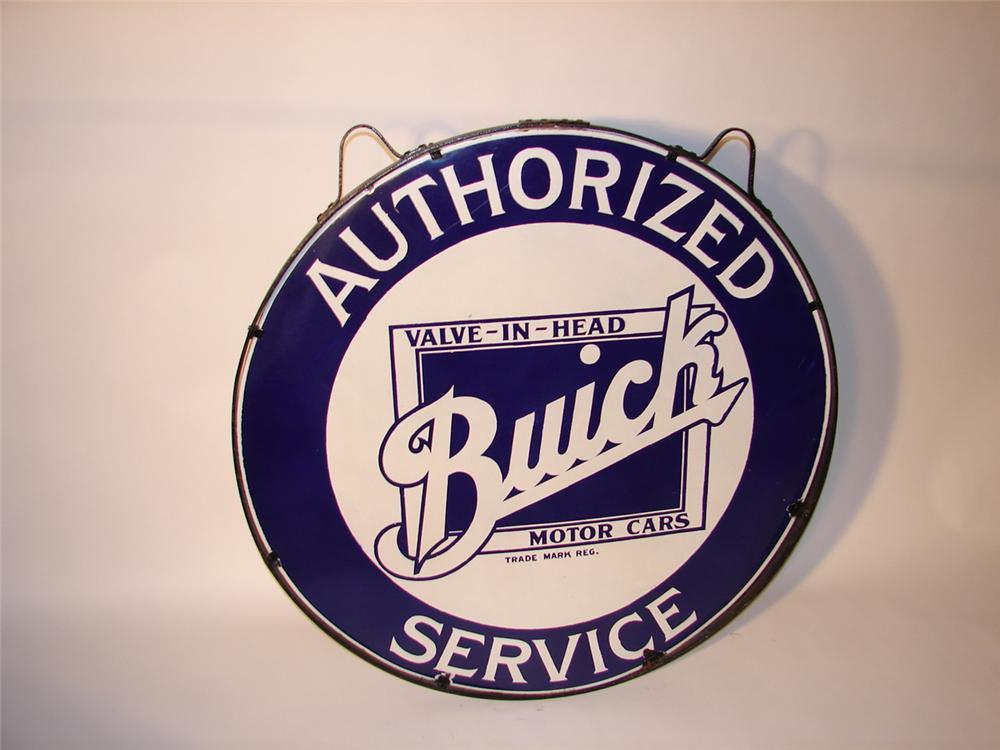 Hard to find 1930s Buick Valve-In-Head single-sided porcelain dealership sign in original frame with hanging brackets. - Front 3/4 - 66384