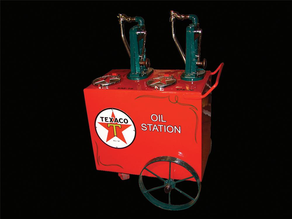 Magnificent 1930s Texaco Filling Station oil cart. - Front 3/4 - 66386