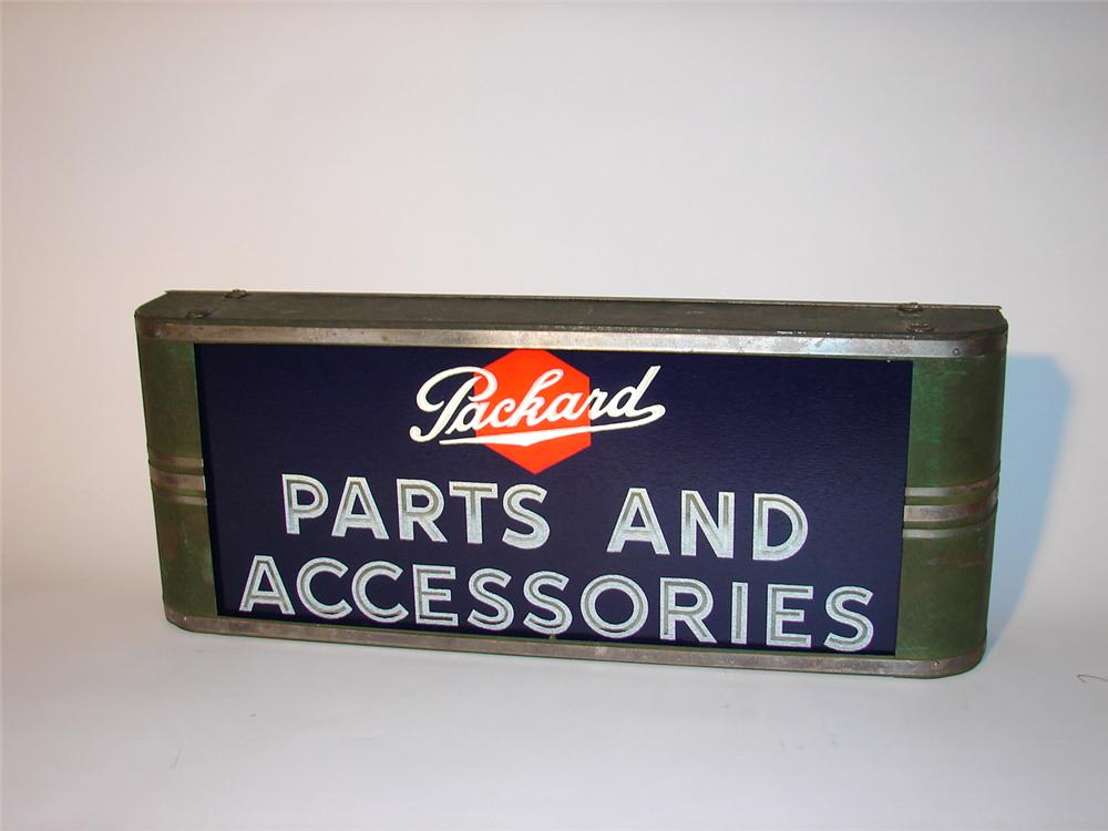 Stupendous 1930s Packard Parts and Accessories light-up garage sign.  Glass face is very nice with no noteworthy chips nor f... - Front 3/4 - 66398