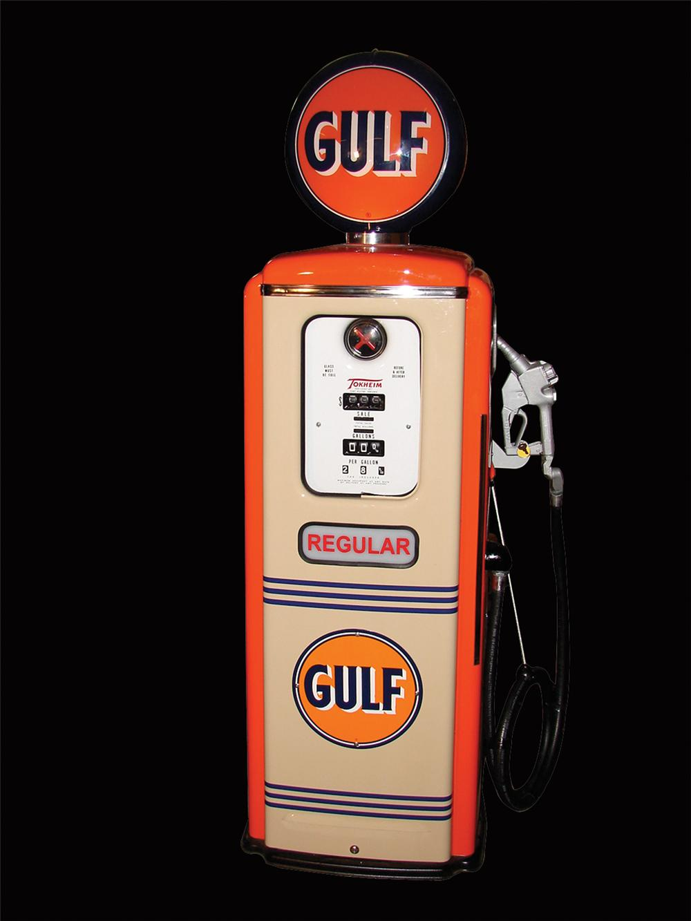 Professionally restored 1950s Tokheim Model 39 service station pump restored in Gulf Oil. - Front 3/4 - 66441