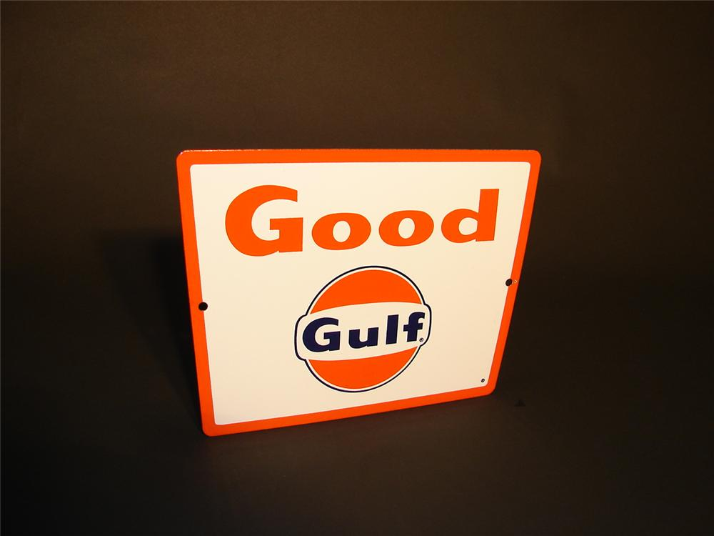 N.O.S. Good Gulf Gasoline porcelain pump plate sign. - Front 3/4 - 66541