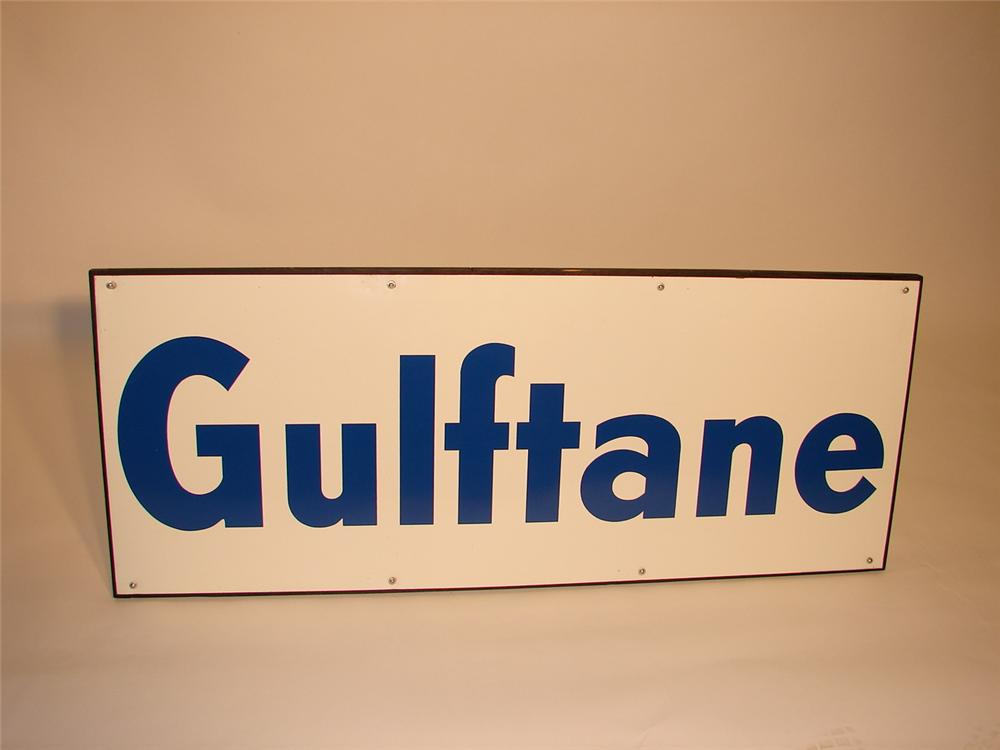 N.O.S. 1960s Gulftane single-sided tin garage sign with wood frame. - Front 3/4 - 66542