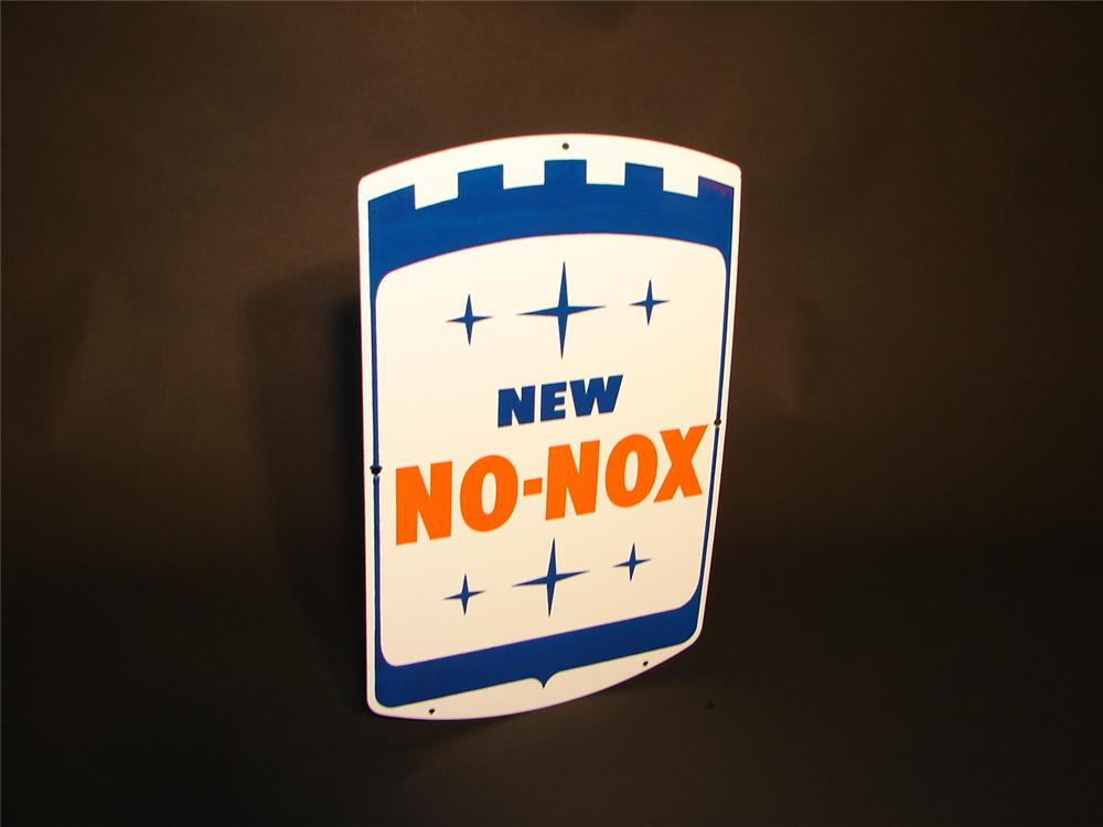 N.O.S. early 1960s New Gulf No-Nox porcelain pump plate sign. - Front 3/4 - 66543