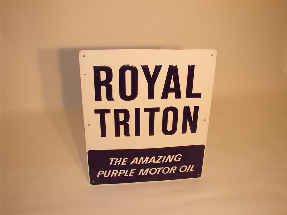 Union 76 Royal Triton single-sided tin embossed station sign. - Front 3/4 - 66544