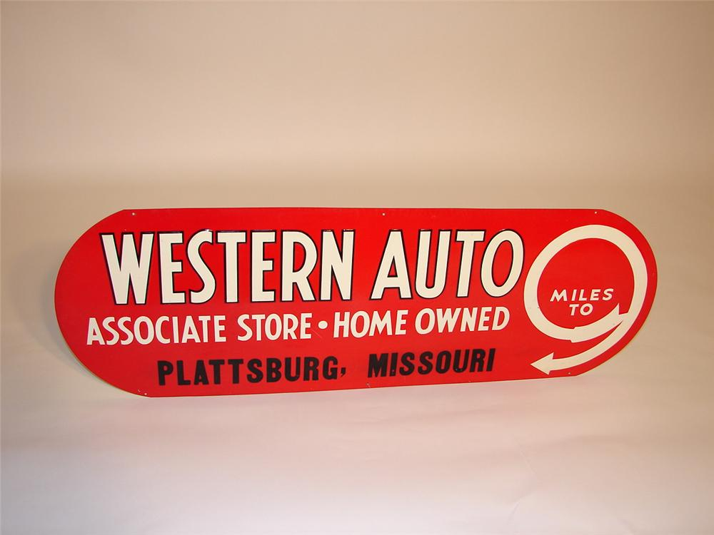 N.O.S. 1930s Western Auto single-sided tin garage sign. - Front 3/4 - 66547