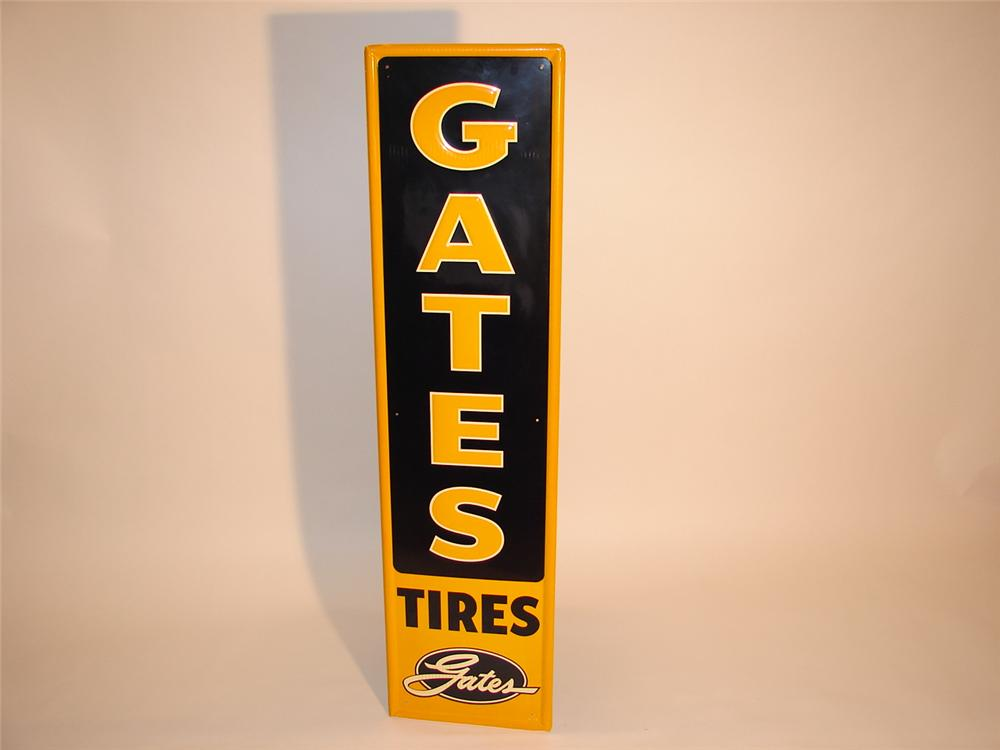 Immaculate N.O.S. 1950s Gates Tires vertical tin garage sign. - Front 3/4 - 66554