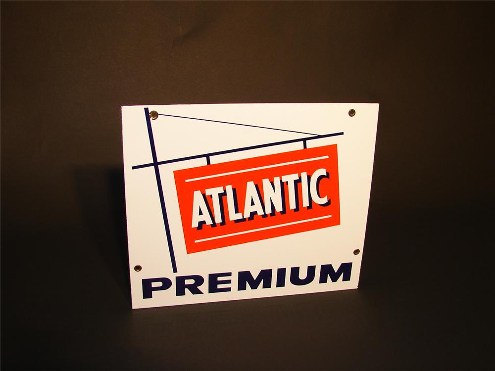 N.O.S. 1950s Atlantic Premium Gasoline porcelain pump plate sign. - Front 3/4 - 66555